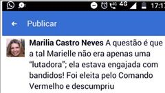 "Desembargadora do TJRJ escreve post no Facebook acusando vereadora assassinada: ""estava enganjada com bandidos"""