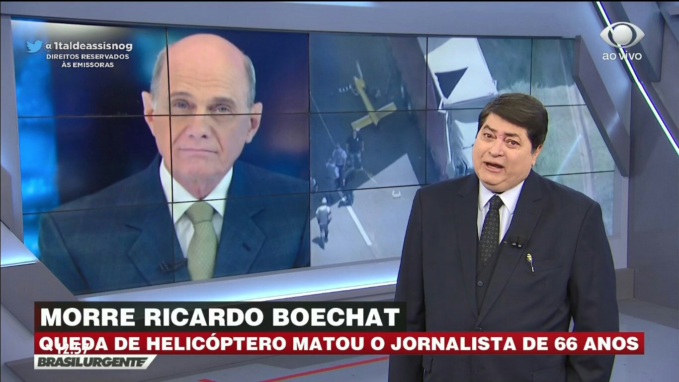 Datena chora ao noticiar morte de Ricardo Boechat